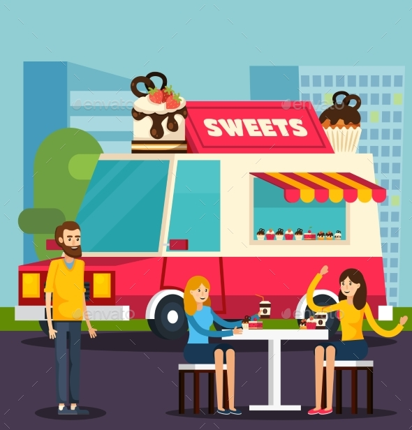 Sweets Van Orthogonal Flat Composition - People Characters