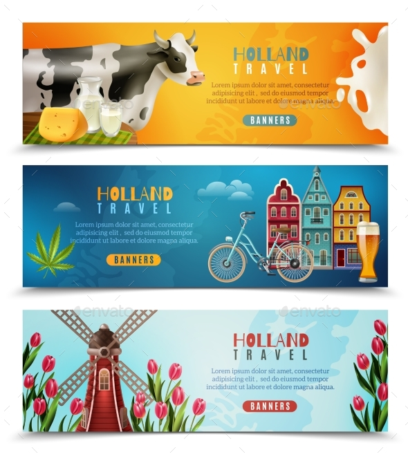 Holland Travel Horizontal Banners Set - Buildings Objects