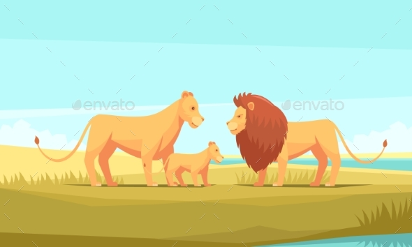 Wild Lion Family Composition - Animals Characters