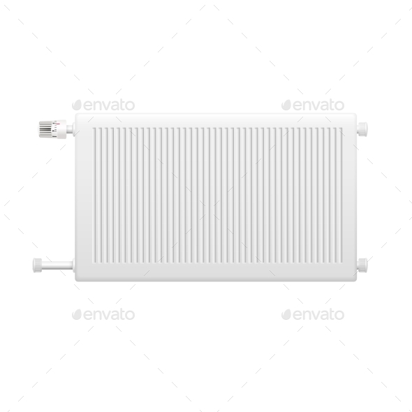 Water Heating Radiator Element Realistic Image - Objects Vectors