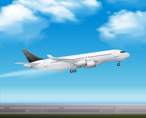 Passenger Airliner Takeoff  Realistic Poster - Man-made Objects Objects