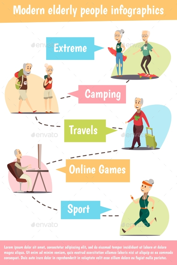 Elderly People Infographic Set - Sports/Activity Conceptual