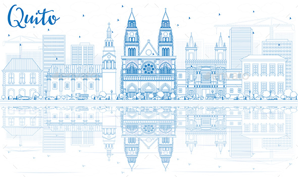 Outline Quito Skyline with Blue Buildings and Reflections. - Buildings Objects