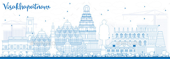 Outline Visakhapatnam Skyline with Blue Buildings. - Buildings Objects