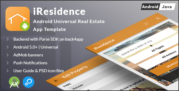 iResidence | Android Universal Real Estate App Template - CodeCanyon Item for Sale