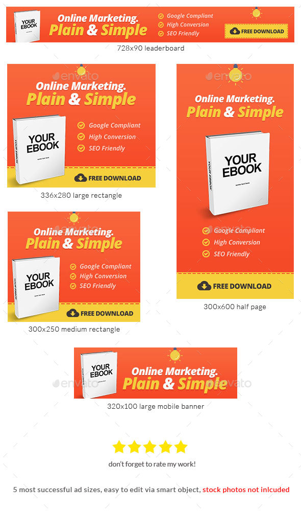 Marketing Ebook Banner Ad Template - Banners & Ads Web Elements