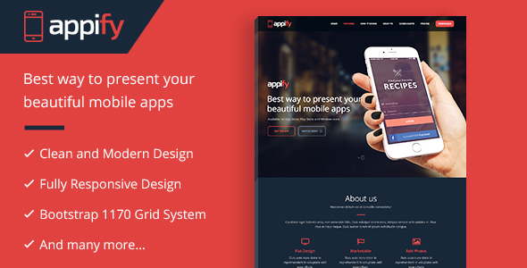Appify - Multipurpose One Page Mobile App landing page WordPress Theme by multidots [18058724]