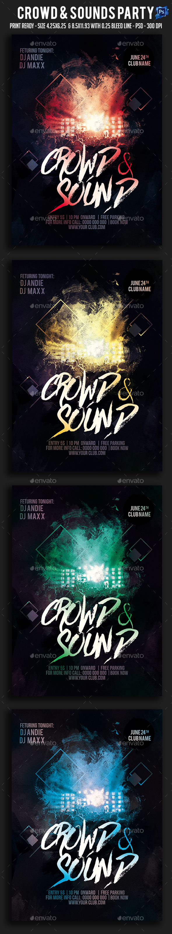 Crowd & Sounds Party Flyer - Clubs & Parties Events