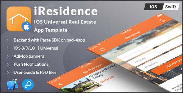 iResidence   iOS Universal Real Estate App Template (Swift) - CodeCanyon Item for Sale