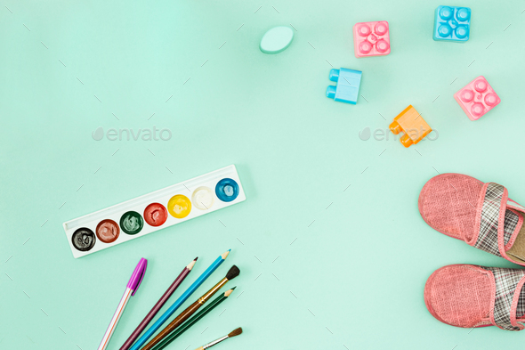 Paint and brushes . Back to school concept. - Stock Photo - Images