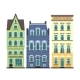Set of 3 Amsterdam Old Houses Cartoon Facades - GraphicRiver Item for Sale