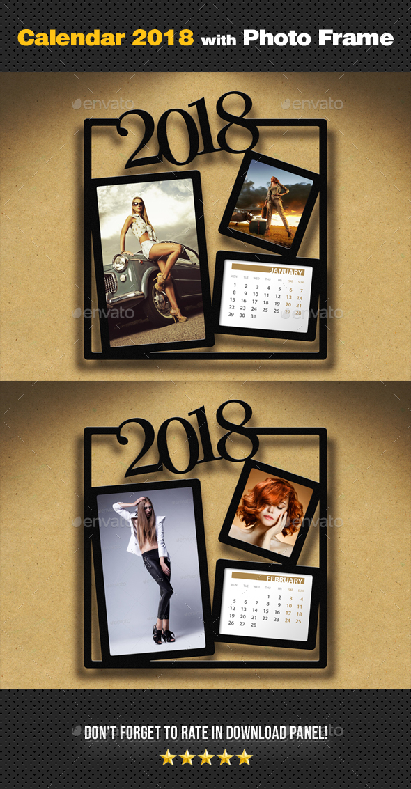 Customizable Calendar 2018 Photo Frame V05 - Miscellaneous Photo Templates