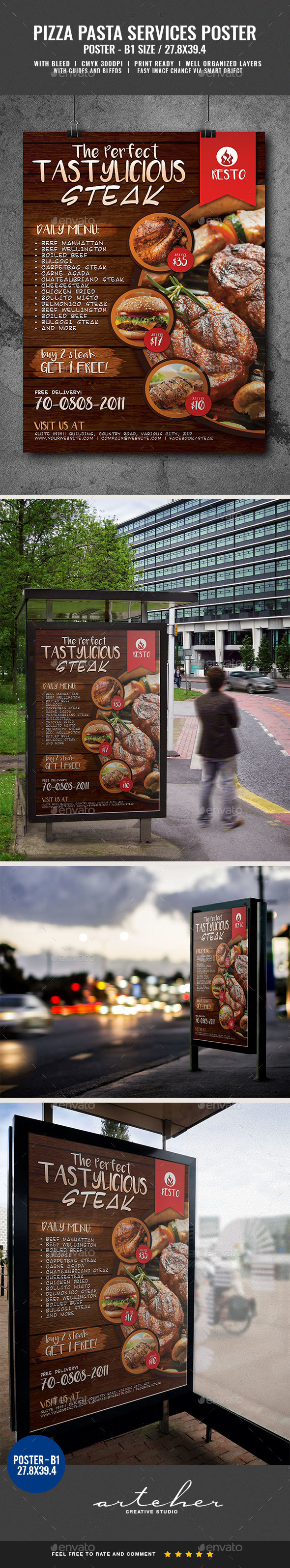 Restaurant Fast Food Steak Poster - Signage Print Templates