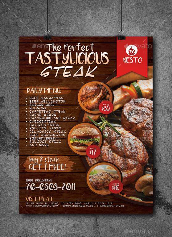 restaurant fast food steak poster by artchery