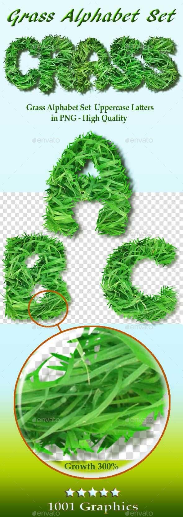 Alphabet Set - Grass - Nature Backgrounds