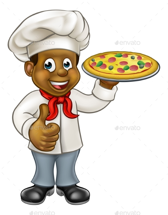 Black Pizza Chef Cartoon Character - People Characters