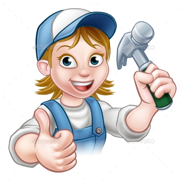 Cartoon Woman Carpenter Holding Hammer - People Characters