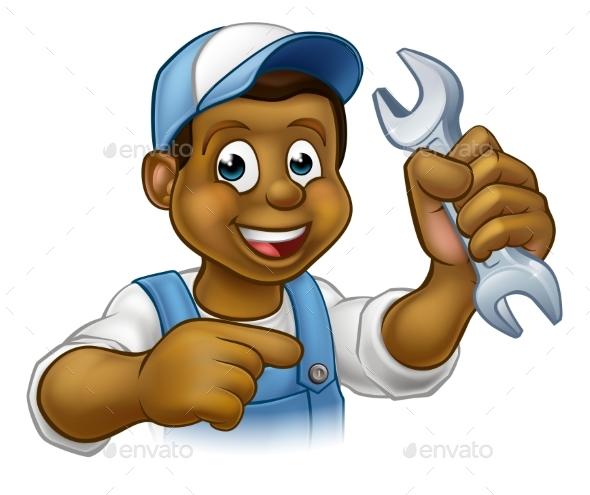 Cartoon Black Plumber Mechanic or Handyman - People Characters
