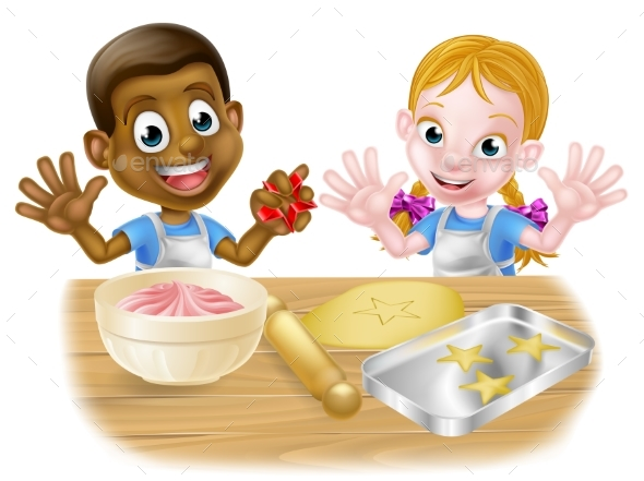Kid Bakers Cooking - Miscellaneous Vectors