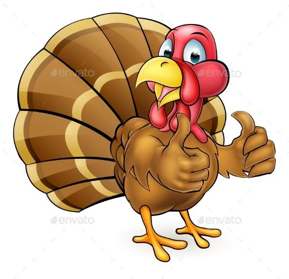 Cartoon Turkey Bird Giving Thumbs Up - Animals Characters