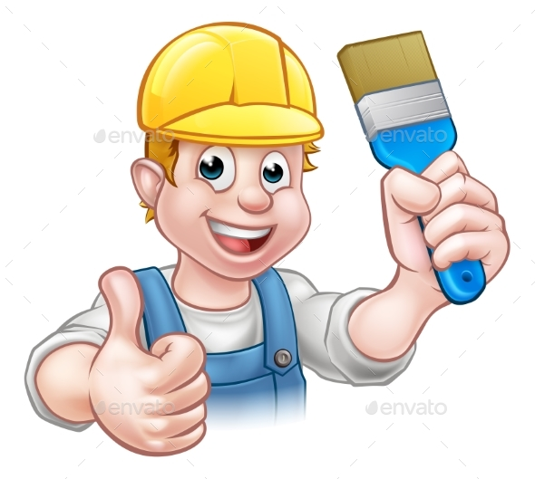 Painter Decorator Holding Paintbrush - Industries Business