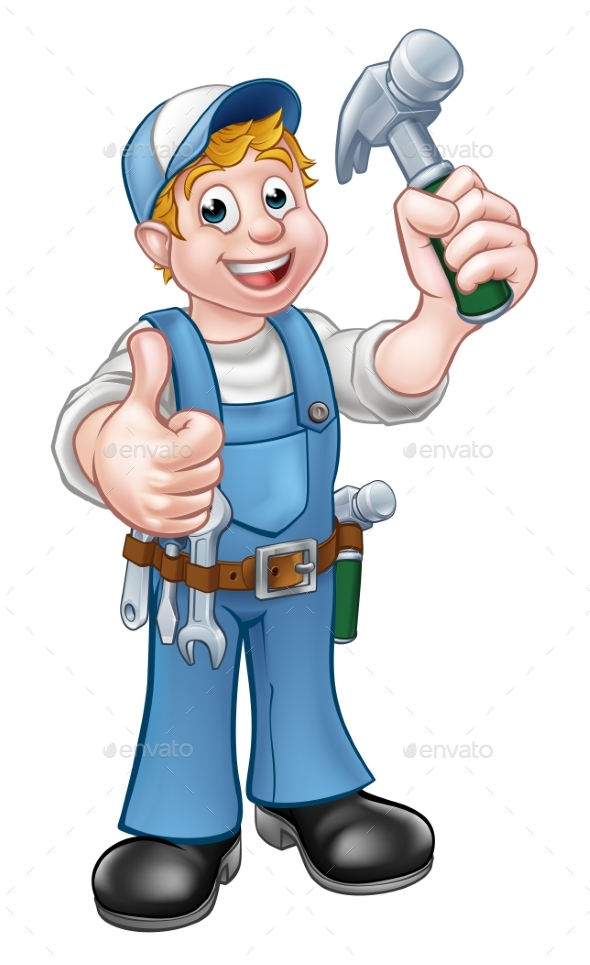 Cartoon Carpenter Handyman Holding Hammer - People Characters