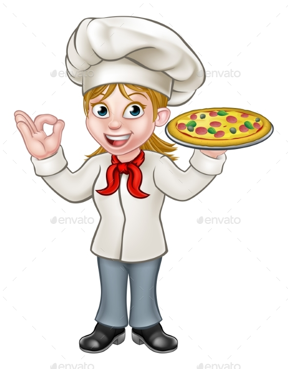Pizza Chef Woman Cartoon Character - Food Objects