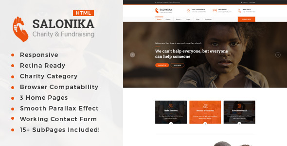 Salonika – Responsive HTML Template for Charity & Fund Raising