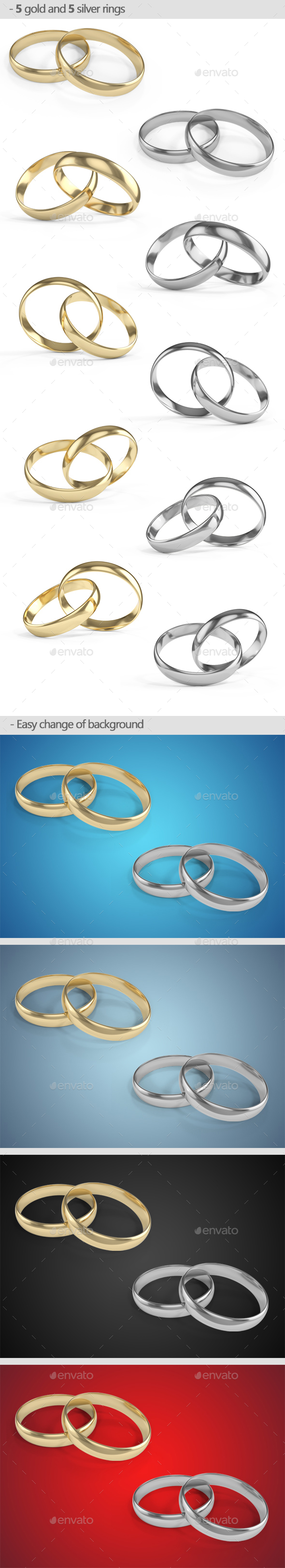 Gold and Silver Rings - Objects 3D Renders