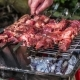 Raw Meat Marinated in Tomato and Onion on the Skewers on the Grill. Turning Servings of Barbecue