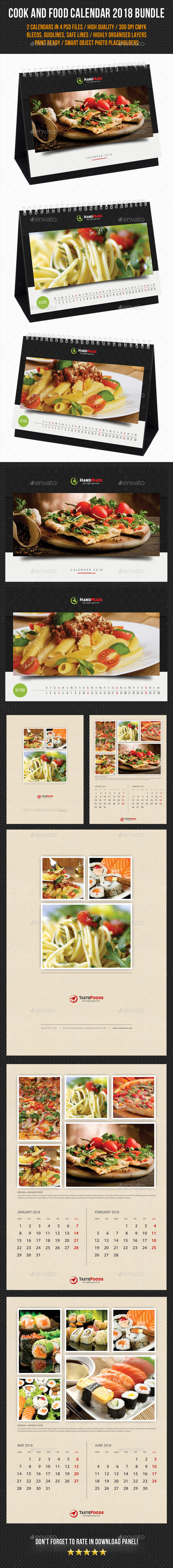 2 in 1 Cook And Food Calendar 2018 Bundle 02 - Calendars Stationery