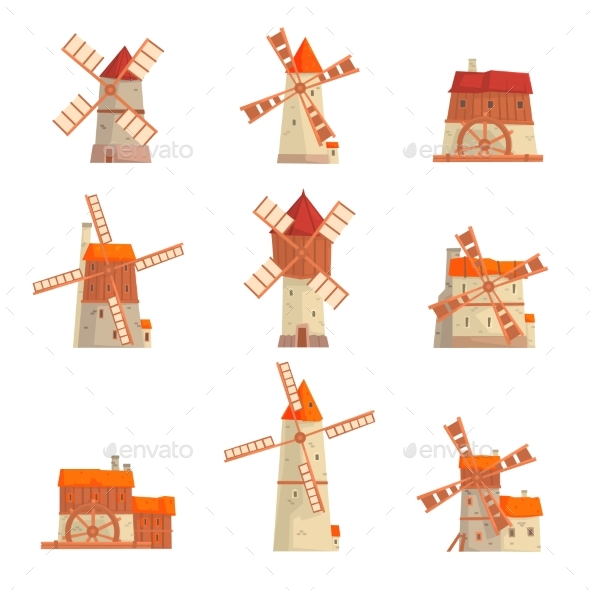 Rural Windmills Set. Collection of Traditional - Miscellaneous Vectors