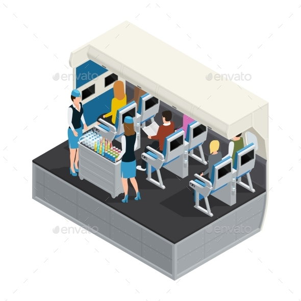 Colored Airplane Interior Isometric Composition - Objects Vectors