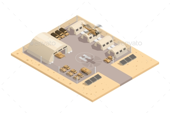 Beige Military Isometric Composition - Miscellaneous Vectors