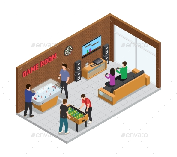 Home Game Club Interior Isometric Composition - Sports/Activity Conceptual