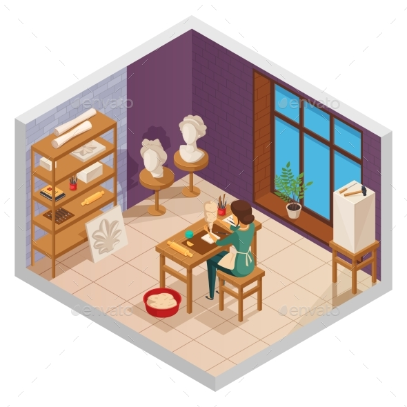 Scuplting Studio Isometric Composition - Buildings Objects