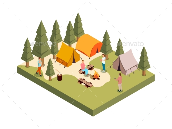 Forest Camp Isometric Composition - Flowers & Plants Nature