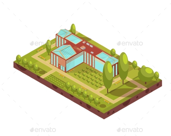 University Building Isometric Layout - Buildings Objects