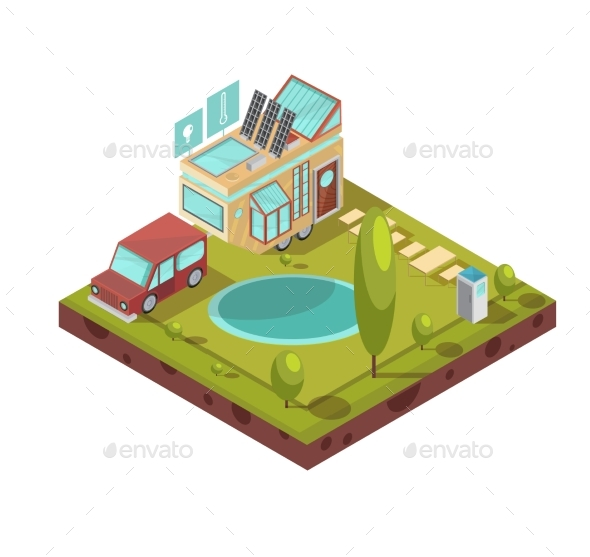 Mobile House Isometric Illustration - Technology Conceptual