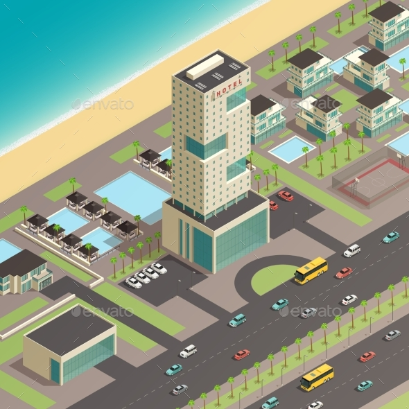 Isometric City Constructor With Hotel - Miscellaneous Vectors