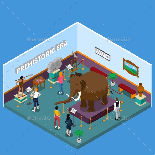Historical Museum Isometric Illustration - Miscellaneous Vectors