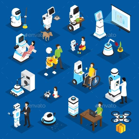 Robots Isometric Set - Technology Conceptual