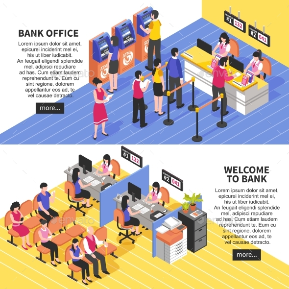 Bank Office Horizontal Isometric Banners - Business Conceptual