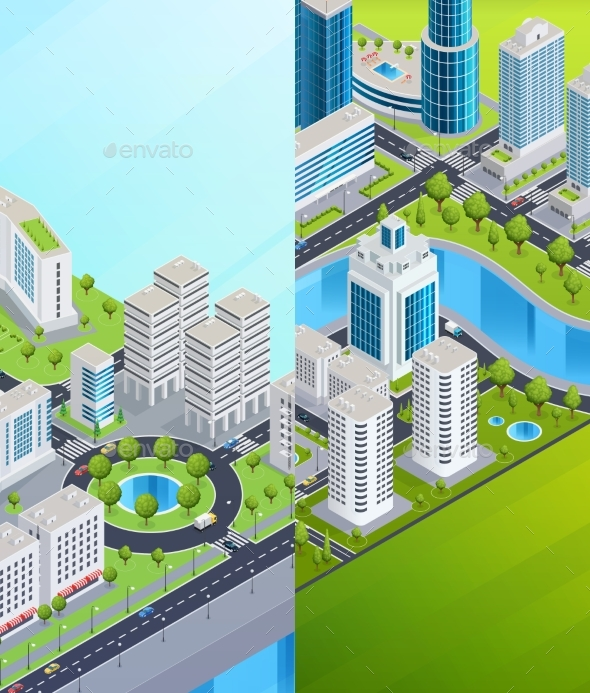 Isometric City Banners - Backgrounds Decorative