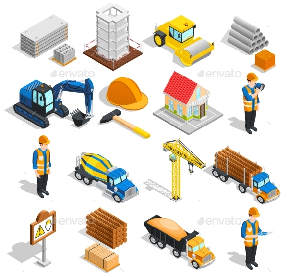 Construction Isometric Elements Set - Industries Business