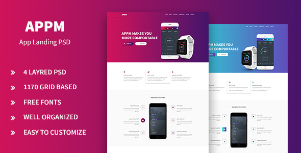 Appm – App Landing PSD Template