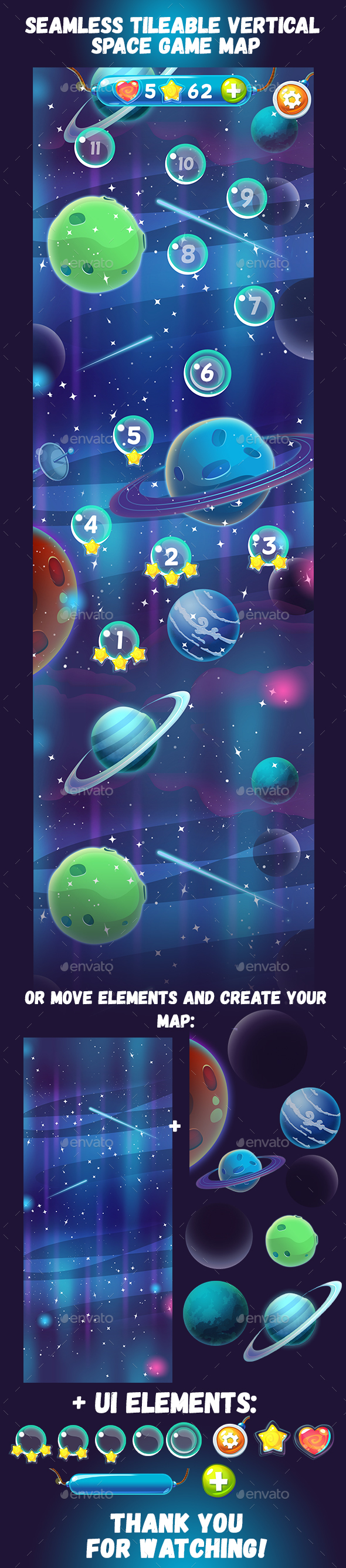 Seamless Vertical Space Game Map - Miscellaneous Game Assets