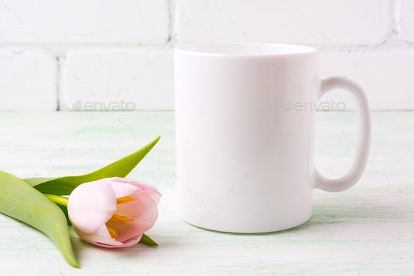 White coffee mug mockup with  pink tulip - Stock Photo - Images