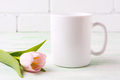 White coffee mug mockup with  pink tulip - PhotoDune Item for Sale
