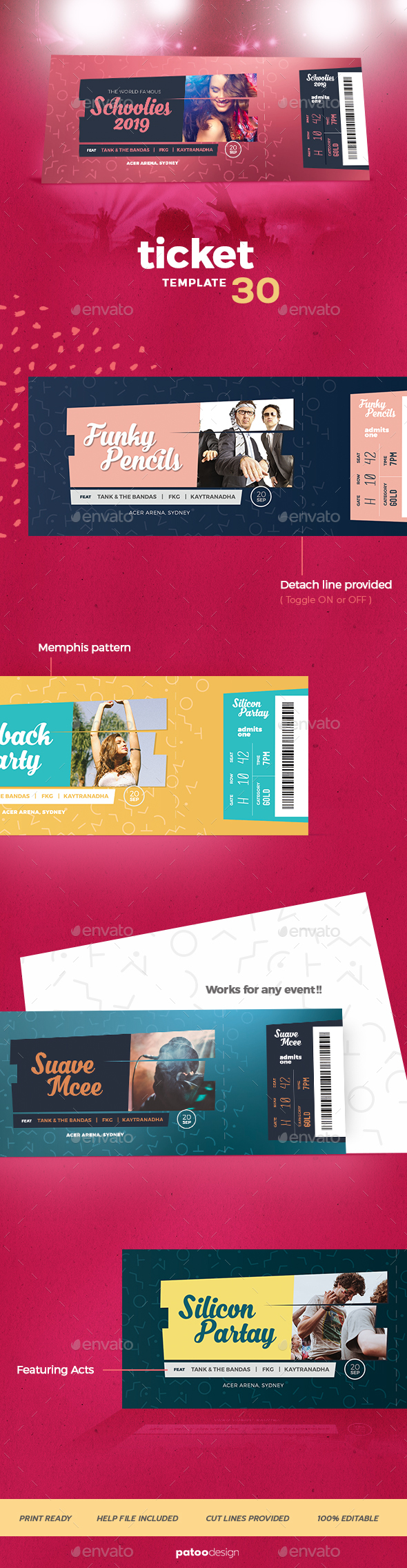 Event Tickets Template 30 - Miscellaneous Print Templates